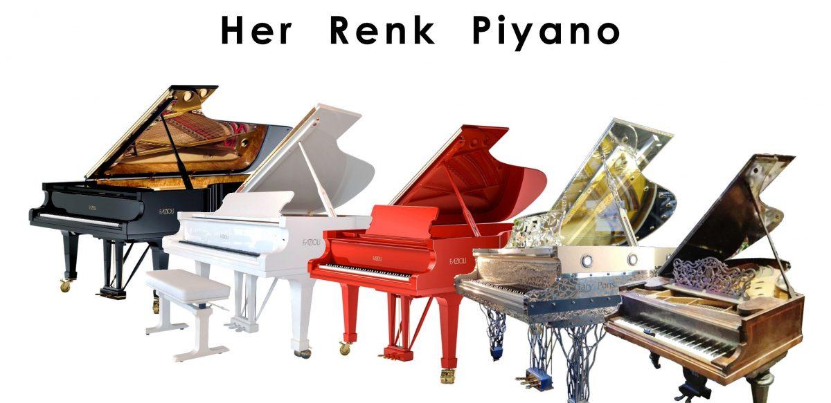 Renkli Piyanolar Kırmızı Beyaz Siyah Antika şeffaf